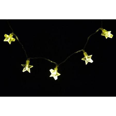Vánoční řetěz na baterie, hvězdy, teple bílá, 1,8 m