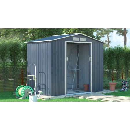 Kovový zahradní domek na nářadí s posuvnými dveřmi šedý, 213x127x195cm
