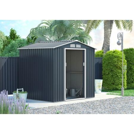 Kovový zahradní domek na nářadí s posuvnými dveřmi šedý, 213x191x195cm