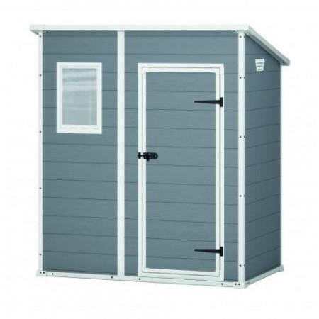 Plastový zahradní domek- bouda na nářadí, šedá + bílá, 184x111x200 cm