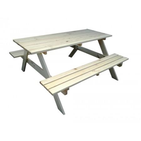 Piknikový set zahradního nábytku dřevěný, lavice + stůl, nelakováno, 160 cm