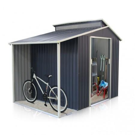 Venkovní zahradní domek plechový s přístřeškem na kola, šedý, 292x193x229 cm