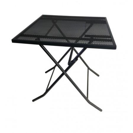 Skládací kovový stůl drátěný na balkon / terasu, černý, 70x70 cm