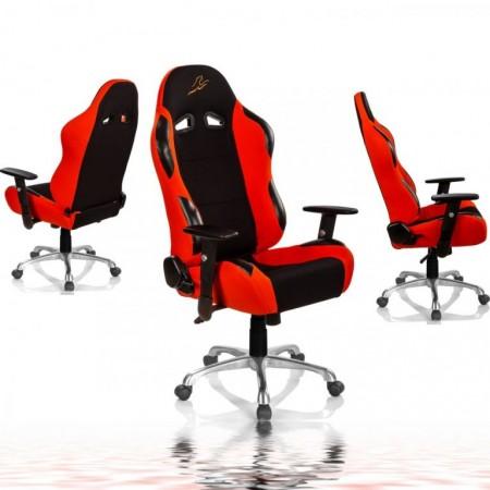 Židle k PC s kovovou základnou, otočná, na kolečkách, oranžová