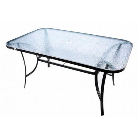 Obdéníkový kovový zahradní stůl se skleněnou deskou