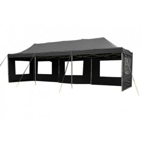 Velký obdélníkový párty stan, nůžkový, 3x9 m - černý