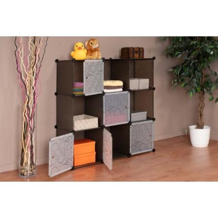 Skládací modulová skříňka / regál do interiéru, variabilní, hnědá