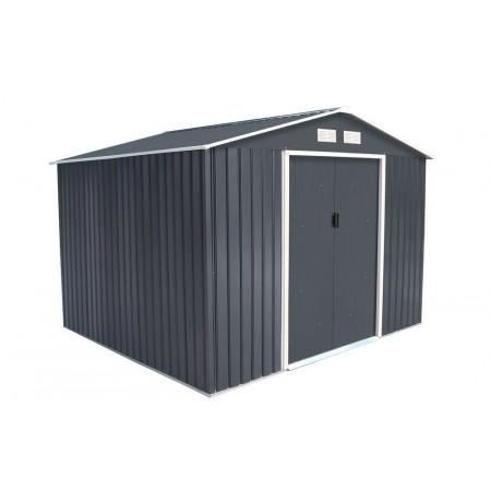 Moderní kovový zahradní domek / garáž, šedá / bílá, 277x255x202 cm