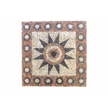 Mozaika z kamínků se vzorem květiny venkovní + vnitřní, 120x120 cm