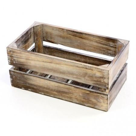 Dekorativní bedýnka dřevěná- opálený vzhled, 42x23x17 cm