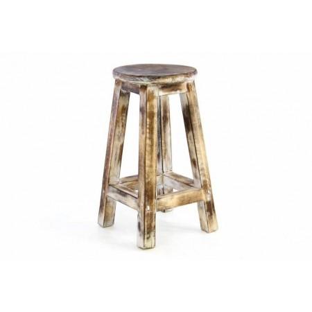 Dřevěná vyšší kulatá stolička- opálený vzhled, výška 50 cm