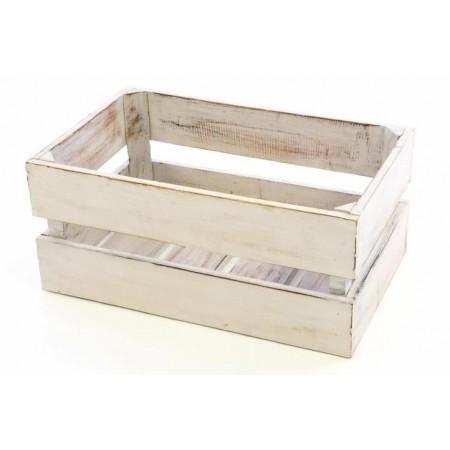 Dekorativní dřevěná bedýnka bílá, ošuntělý vzhled, 47x29,5x20 cm