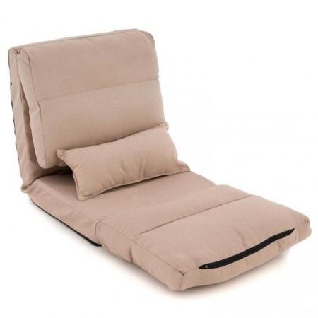 Přenosné relaxační křeslo / spací lehátko pro hosty, světle hnědé, 220x60 cm