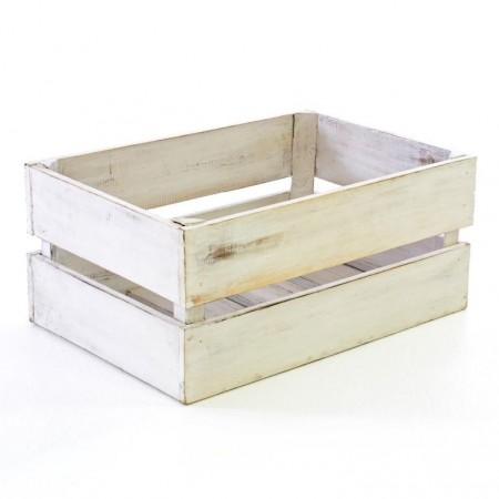 Dekorativní dřevěná bedýnka vintage bílá, 42x23x17 cm