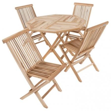 Venkovní týkový nábytek na balkon / terasu, stůl + 4 židle