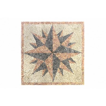Dlažba / obklad mozaika kompas z kamínků venkovní + vnitřní, 120x120 cm