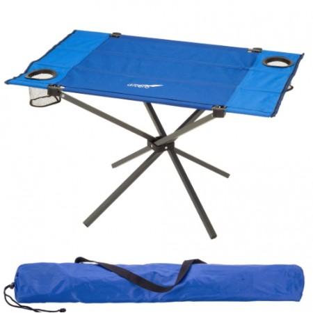 Kempinkový skládací stůl obdélníkový, textilní, modrý, 80x50 cm