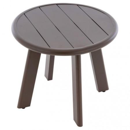 Terasový / balkonový odkládací stolek malý hliníkový, tmavě hnědý, průměr 52,5 cm