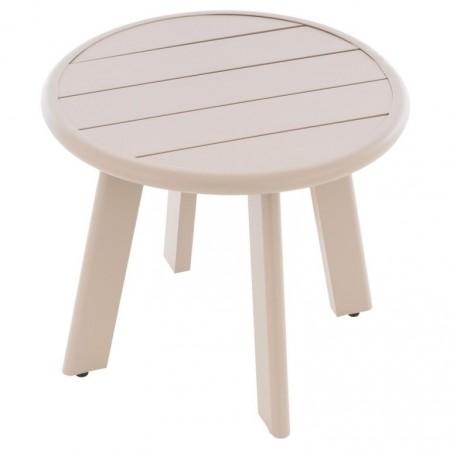 Terasový / balkonový odkládací stolek malý hliníkový, béžový, průměr 52,5 cm