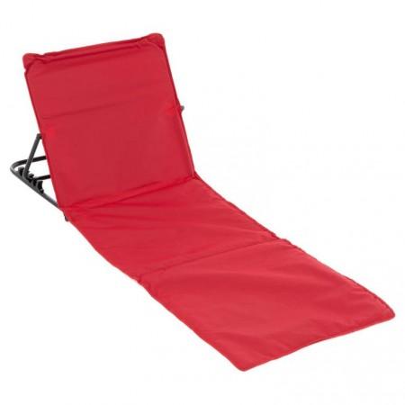Plážové lehátko s nastavitelnou zádovou opěrkou, červené, 166x58 cm
