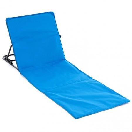 Plážové lehátko s nastavitelnou zádovou opěrkou, modré, 166x58 cm
