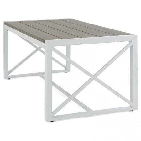 Nižší zahradní / balkonový stolek, hliník + plast- imitace dřeva, 160x92 cm