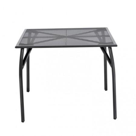 Drátěný kovový stůl na zahradu / terasu, čtvercový, černý, 90x90 cm