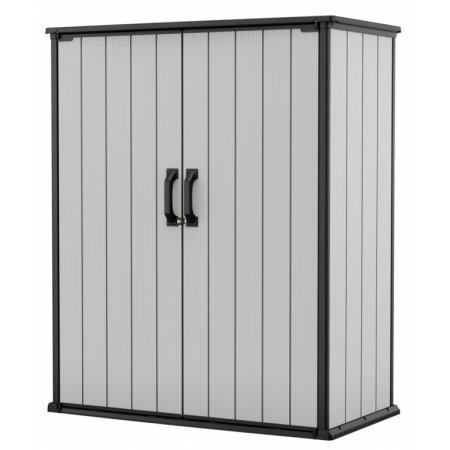 Kvalitní vekovní skříň na polstry / nářadí, šedohnědá, 140x74x171 cm