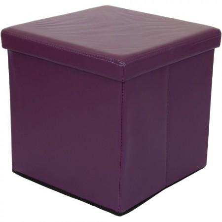 Polsatrovaný skládací taburet, fialový