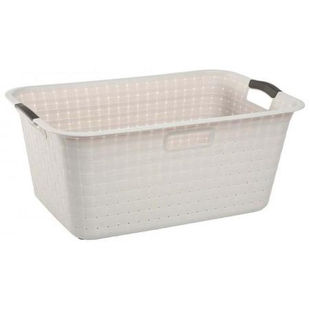 Plastový koš na prádlo krémový, 40 L, 60x39x26 cm