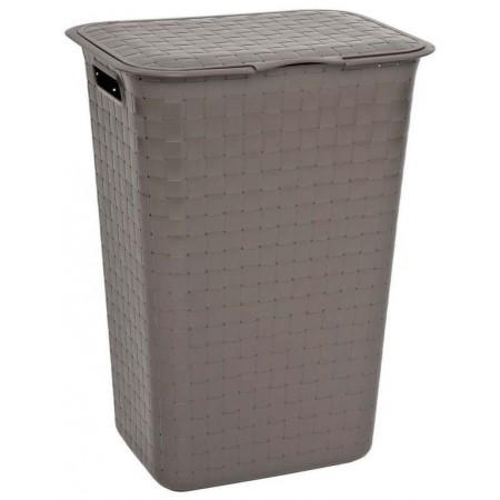 Plastový koš na špinavé prádlo, s víkem, 48 L, hnědý, 43x34x58 cm
