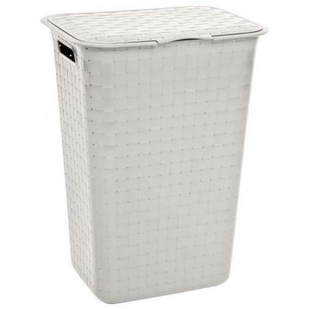 Plastový koš na špinavé prádlo, s víkem, 48 L, krémový, 43x34x58 cm