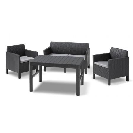 Moderní ratanová sestava nábytku, stůl s nastavitelnou výškou, grafit + šedé polstry
