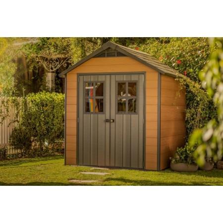 Zahradní domek hnědý v imitaci dřeva, plast, 155 kg, 228x224x252 cm