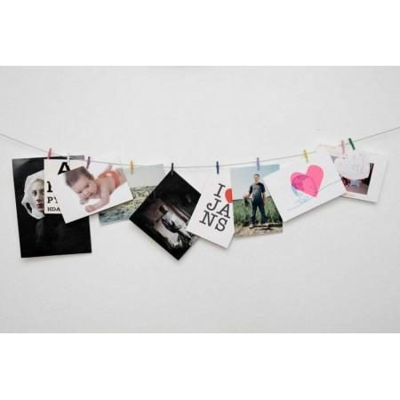 Držák na fotky- prádelní šňůra s kolíčky, na zeď, 10 kolíčků
