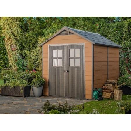 Designový plastový zahradní domek- imitace dřeva, střešní šindele, 287x228x252 cm