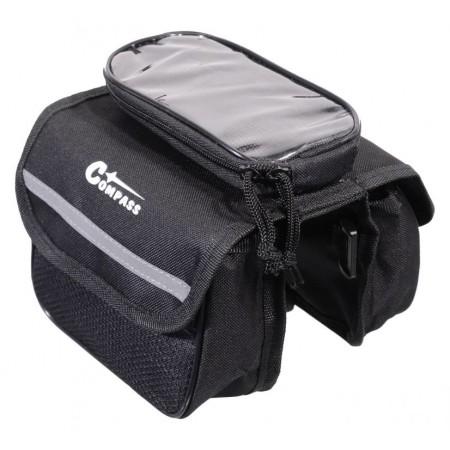 Taška na rám kola s kapsou na telefon, 2x0,75 L