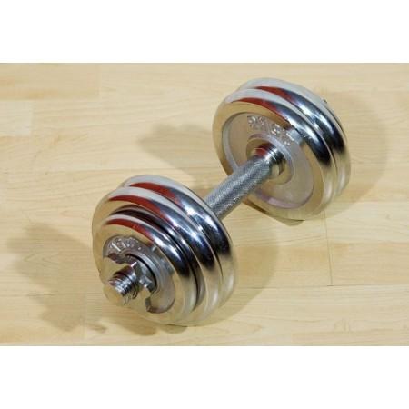 Jednoruční profi činka s kovovými kotouči 15 kg, chrom