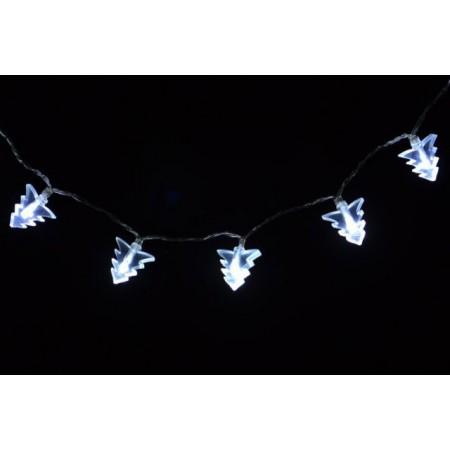 Vánoční řetěz- motiv stromků, studeně bílý, 20 LED diod, 1,8 m