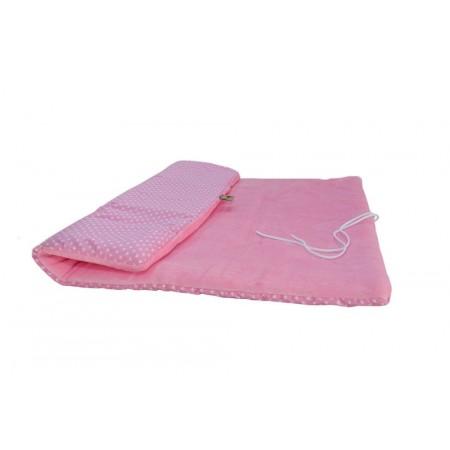 Deka pro psy měkká polstrovaná, růžová + srdíčka, obdélník 90x65 cm