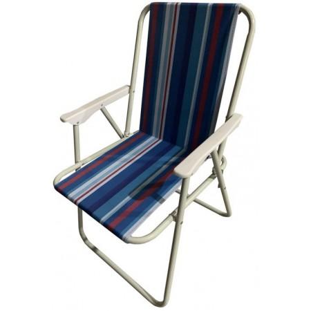 Skládací plážové / kempingové křeslo s kovovým rámem, tmavě modré