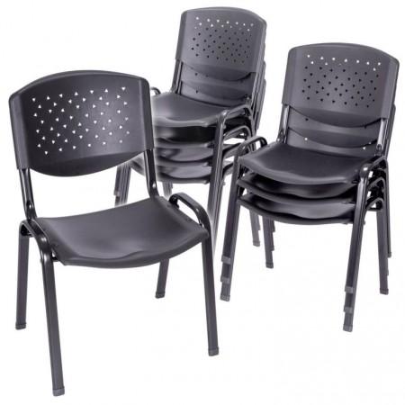 8 ks konferenční stohovatelná židle do sálů, kov / plast, černá