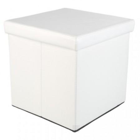 Skládací taburet s úložným prostorem bílý, 38 x 38 x 38 cm