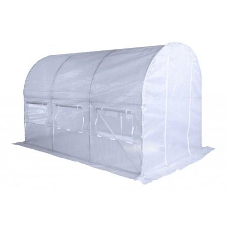 Foliovník tunelový- ocelová šroubovaná konstrukce, vyztužená plachta, bílý, 3,5x2 m