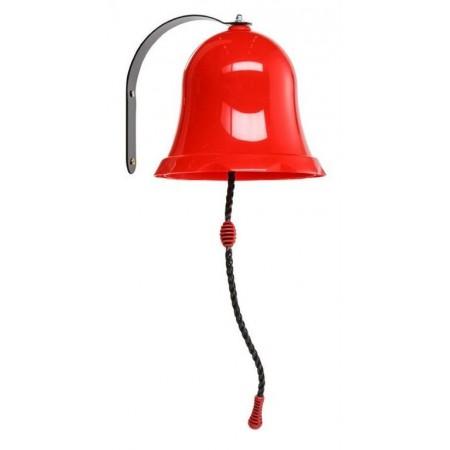 Dětský nástěnný zvonek klasický, plast + kov, červený, 17,5 cm