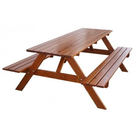 Masivní dřevěný nábytek na zahradu- set lavic a stolu, lakovaný, 180 cm