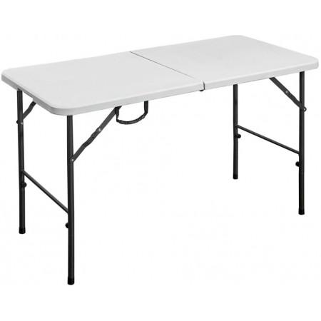 Pevný skládací stůl cateringový venkovní + vnitřní, ocel + plast HDPE, bílý, 120 cm