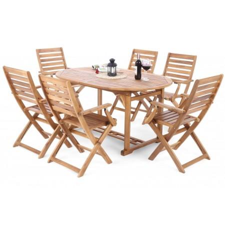 Set akátového dřevěného nábytku s roztahovacím stolem, pro 6 osob