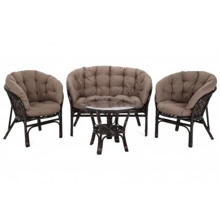 Retro set nábytku z pravého přírodního ratanu, na terasu / do interiéru, tmavě hnědý