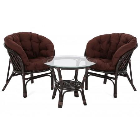 Exkulzivní retro set nábytku z přírodního ratanu, tmavě hnědý, 2x křeslo + kulatý stolek